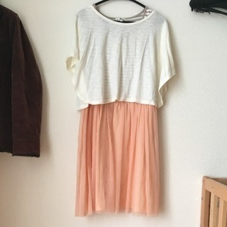☆☆重ね着☆マタニティワンピース 授乳服 ピンク Mサイズ