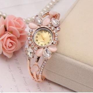 新品未使用姫系スワロフスキービジューピンクゴールド腕時計