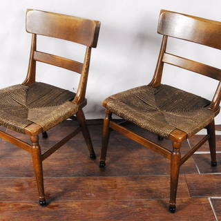 楢材 オーク無垢材曲木 木製チェア ダイニングチェア ペア 2脚 曲げ木 編み込み座面の画像