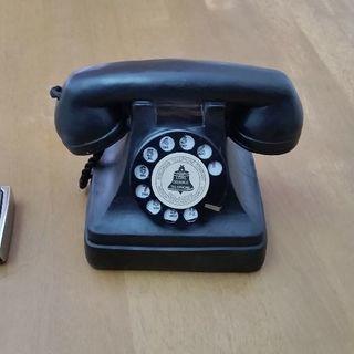 アンティーク風レトロな黒電話型、置物(未使用)