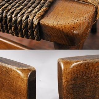 楢材 オーク無垢材曲木 木製チェア ダイニングチェア ペア 2脚 曲げ木 編み込み座面 - 売ります・あげます