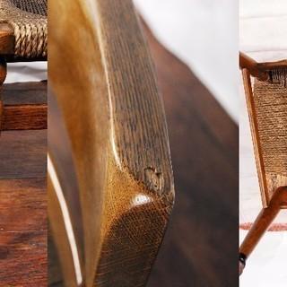楢材 オーク無垢材曲木 木製チェア ダイニングチェア ペア 2脚 曲げ木 編み込み座面 − 愛知県