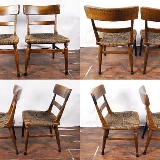 楢材 オーク無垢材曲木 木製チェア ダイニングチェア ペア 2脚 曲げ木 編み込み座面 - 家具