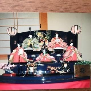豪華な雛人形三段五人飾り 紫峰作