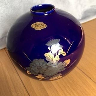 花瓶 有田焼 西陶作 瑠璃色