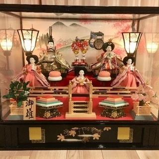 雛人形 五人ケース飾り オルゴール、ライト付