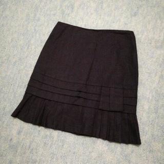 未使用♪Mサイズ 前裾プリーツスカート ブラック