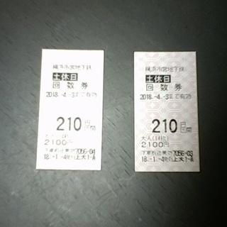 ★【切符】横浜市営地下鉄★土休日回数券210円×2枚★