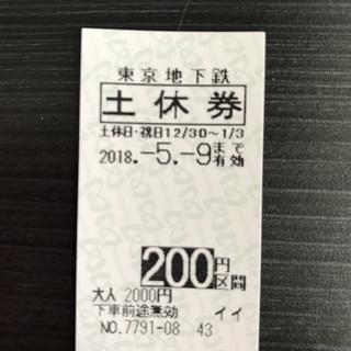 東京メトロ(東京地下鉄)200円区間 土休回数券 2018/5/9...