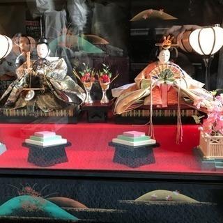 雛人形 照明、ガラスケース、オルゴール付