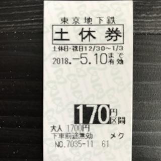 東京メトロ(東京地下鉄)170円区間 土休回数券