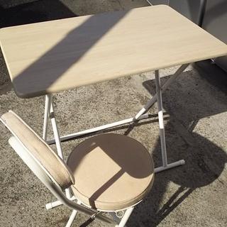 [折り畳み式テーブル+イスセット]⁑リサイクルショップヘルプ