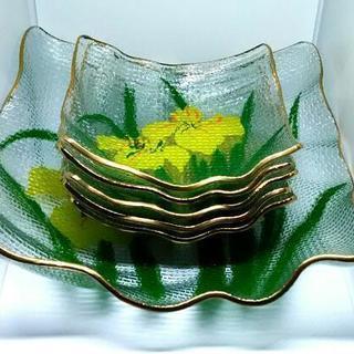 水仙柄 ガラス皿 大皿1枚 小皿5枚 セット