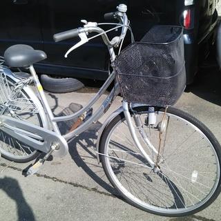 お話し中 26インチ 3段ギヤ付き自転車 シルバー        ...