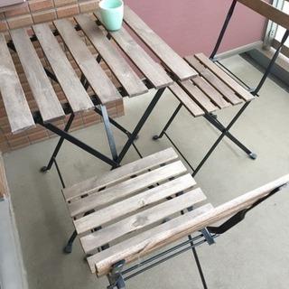 【譲ります】IKEA 屋外テーブル+チェア2脚セット