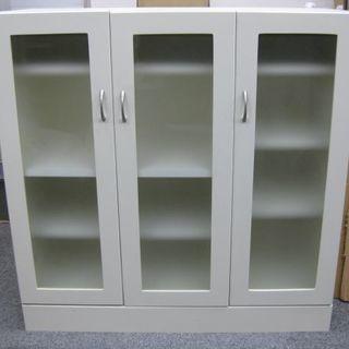 木製 食器棚 収納棚 ホワイト 幅90.5cm×奥行38cm×高さ...