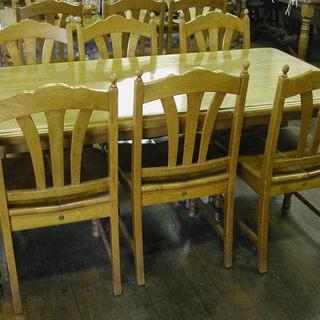高価なゴムの木素材の手作りダイニングセット(6人用)