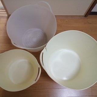 プラスチック バスケット 洗濯かご 大中小 3個セット