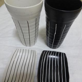 ペア ビールグラス 白黒 & 小皿 陶磁器 セット