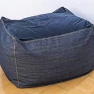 無印良品 体にフィットするソファ+綿デニムカバー(ネイビー)65×65×43 ビーズクッション デニム - 国分寺市