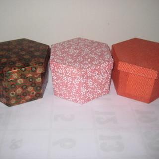 ハンドメイド◆和紙 六角形 箱 3つ