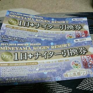 峰山高原スキー場 リフト券2枚