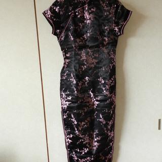 ロングチャイナドレス ブラック×ピンク