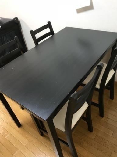 Ikea ダイニングテーブルセット 黒の木目調 Micha 川口の