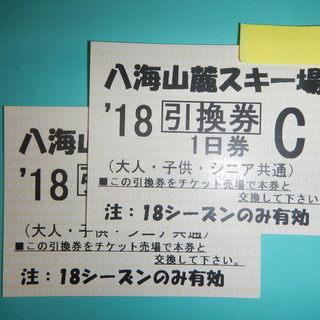 八海山麓スキー場 新潟県  リフト1日券引換券2枚