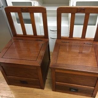 木製椅子  2点セット  引出し付き  収納付き  美品