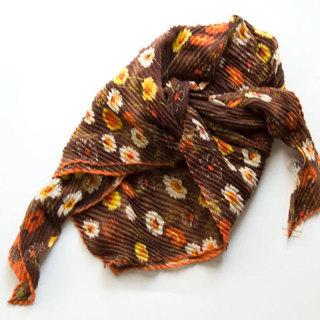 ◆花柄 スカーフ 絹70% しわ加工 WORLD