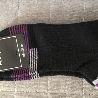 新品!靴下 25-27センチ 洋服の青山 紫