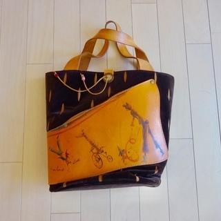 デザイナー手書きバッグ(1点もの・一部革製)