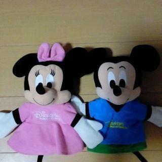 美品 ミッキー&ミニーのハンドパペット