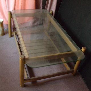 ガラス天板角テーブル