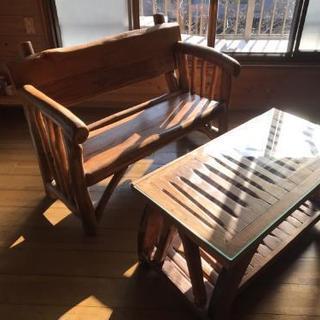 ウッドテーブル ベンチ セット