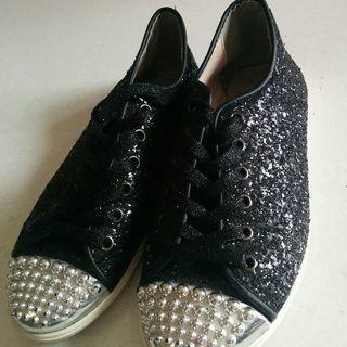 つま先シルバーの黒のデッキshoes M