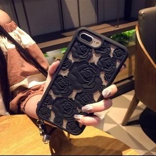 iPhone X シリコンケース 薔薇