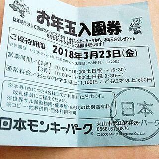 日本モンキーパーク入園券
