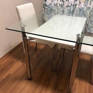 【明日まで】4人用ガラステーブル ...