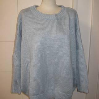 手編み ゆったりセーター きれいなグレー フリーサイズ