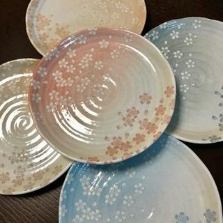花みずき 籠付き和皿5枚セット