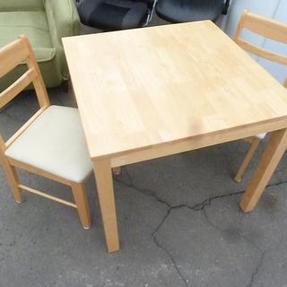 新札幌発★木製★食卓テーブル★ダイニングテーブルセット 椅子2脚付