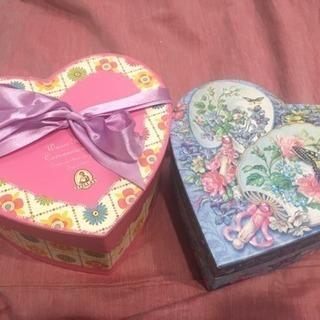 可愛いハートの箱2つ