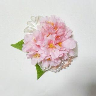 入園、入学式にも♡桜とパールのブーケコサージュ ヘアクリップ