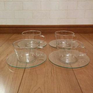 IKEA ティーカップ&ソーサー クリアガラス 4セット