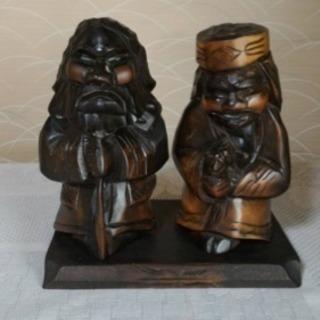 アイヌ 木彫り人形+時計