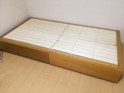 無印良品 MUJI シンプル収納ベッド シングルサイズ オーク材 美