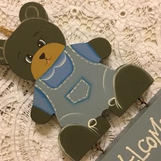 【値下げしました】トールペイント クマの壁飾り WELCOMEボード