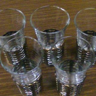 昭和レトロ 一口グラス ビールグラス タンブラー 5客セット 金...